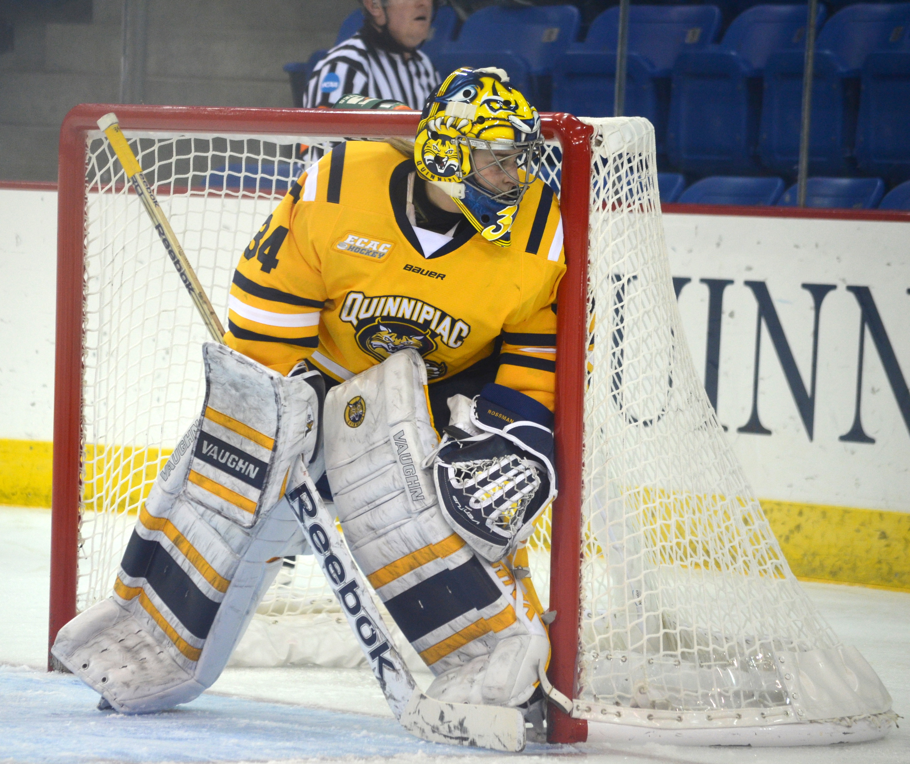 Sydney Rossman watches the puck in her zone vs Dartmouth 12/4/15